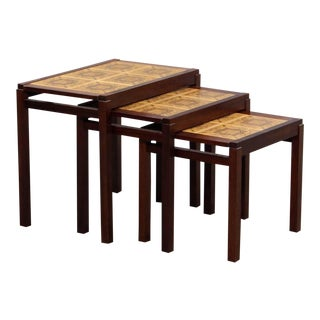 Rosewood and Ceramic Tile Danish Modern Nesting Tables- Set of 3 For Sale