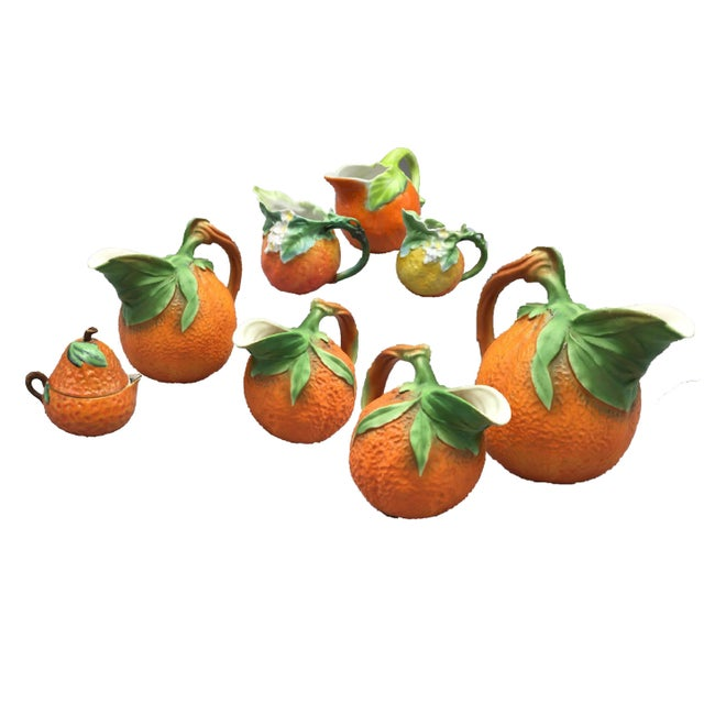 Mid-Century Royal Orange Citrus Blossom Porcelain International Serveware - Set of 8 - Image 2 of 7