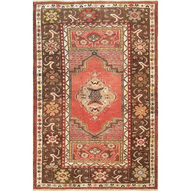 """Vintage Brown & Red Oushak Area Rug - 3'6"""" X 5'5"""" - Image 1 of 3"""