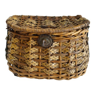 Antique Woven Creel Basket Fishing Tool For Sale
