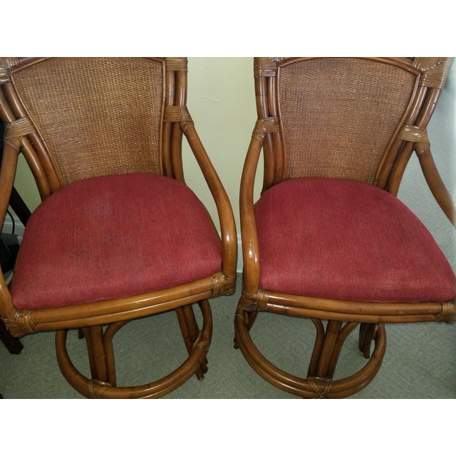 Rattan Bamboo Leather Swivel Bar Stools - a Pair For Sale - Image 9 of 13
