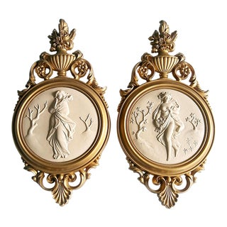 Hollywood Regency Gilt Grecian Goddess Wall Plaques - a Pair For Sale