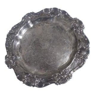 Towle Silver Tray with Ornate Rose Edge For Sale
