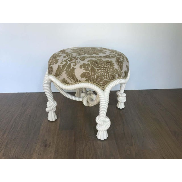 20th Century Napoleon III Style Lacquered Rope Twist Upholstered Tabouret For Sale In Dallas - Image 6 of 9