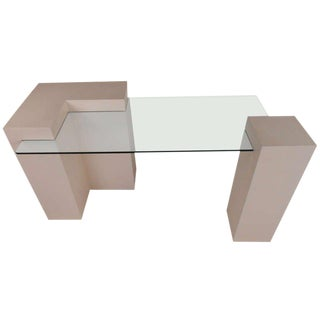 Modern Grasscloth Reception Desk For Sale