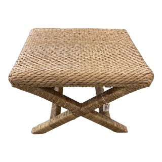 Palecek Woven Seagrass Ottoman/ Stool For Sale