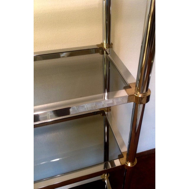 Maison Jansen Etagere, Chrome & Brass Smoked Glass For Sale - Image 5 of 10