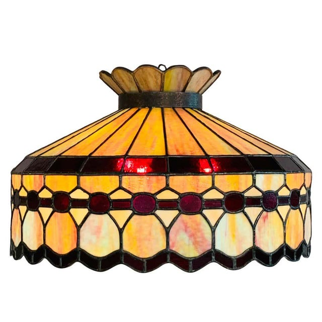 Mid 20th Century Tiffany Style Leaded Glass & Patinated Bronze Pendant or Chandelier For Sale - Image 12 of 12