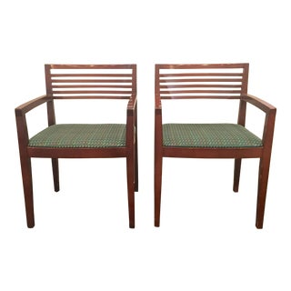 Ricchio for Knoll Studio Mahogany Arm Chairs - a Pair For Sale