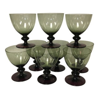 Moss Green & Purple Amethyst Goblet Footed Desserts Set of 8 For Sale