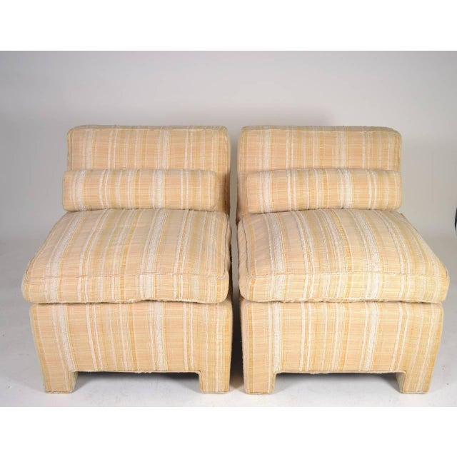 Mid-Century Modern Pair of Modern Upholstered Slipper Chairs, circa 1960s For Sale - Image 3 of 10
