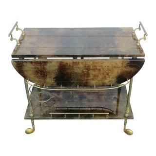 Mid 20th Century Aldo Tura Style Goatskin Bar Cart For Sale