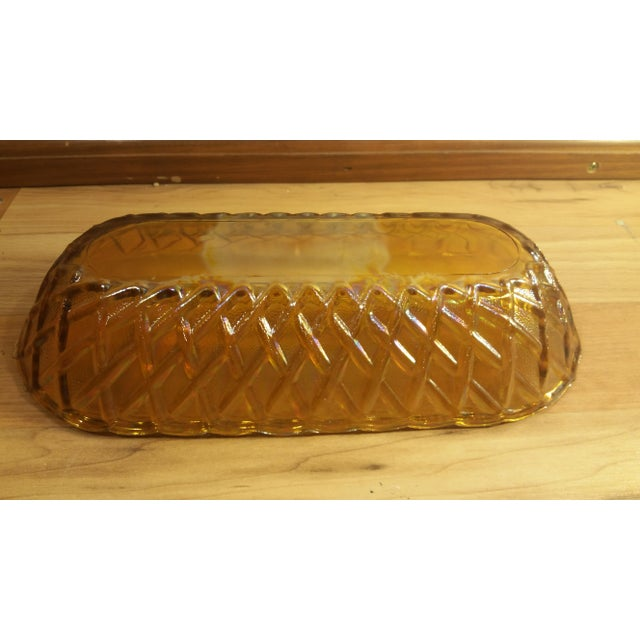 Marigold Carnival Glass Oblong Dish For Sale - Image 4 of 5