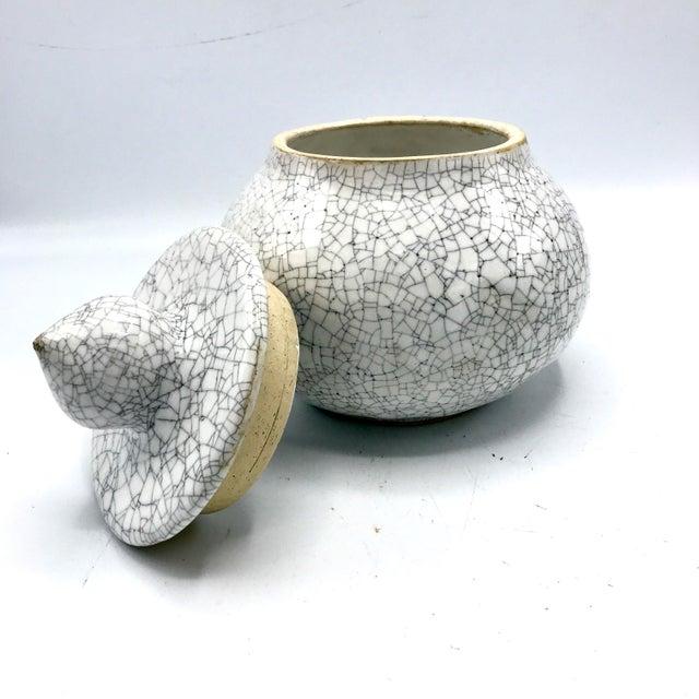 Mid 20th Century Studio Pottery Signed Crackle Glaze Lidded Ginger Jar For Sale - Image 5 of 13