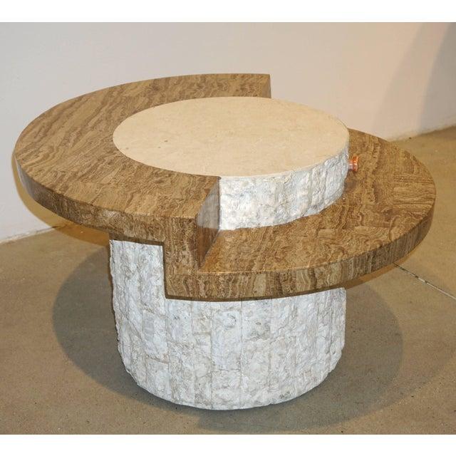 1970s Marzio Cecchi Italian Vintage White and Ochre Stone Round Side/Sofa Table For Sale - Image 11 of 12