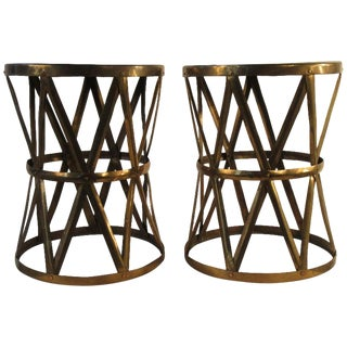 Pair of 1970s Corseted Brass Stools For Sale