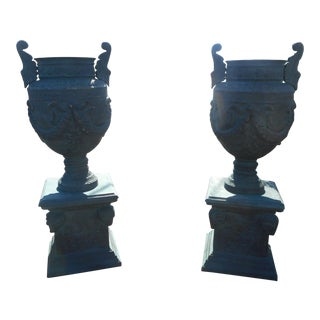 Massive Pair of Cast Iron Urns on Pedestal Bases For Sale
