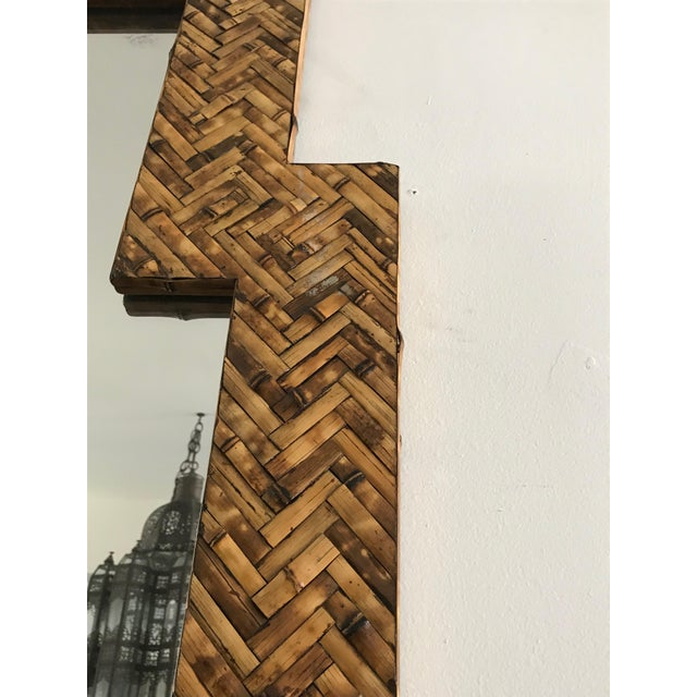 1960s Mid Century Herringbone Pattern Woven Rattan/Bamboo Wall Mirror For Sale - Image 5 of 7