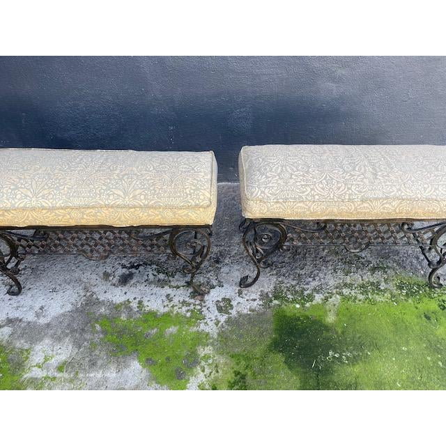 Pair of 1900's French Iron Benches With Trellis Rosette Motif.