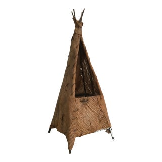 Decorative Teepee Handmade Palm Bark and Wood For Sale