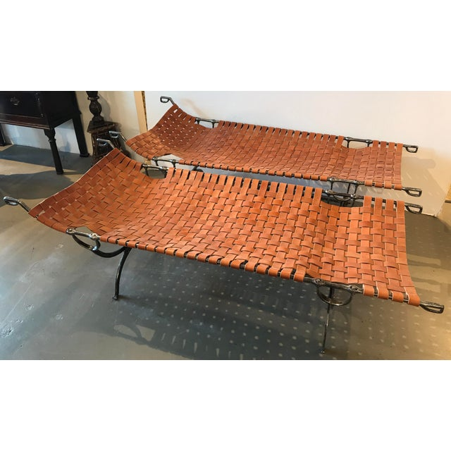 Pair of Early 19th Century Napoleonic Iron Campaign Beds With Leather Strapping For Sale - Image 9 of 9