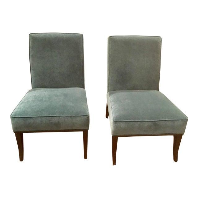 Ambella Home Blue Velvet Gigi Slipper Chairs -a Pair For Sale