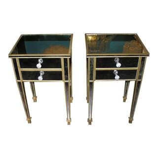 Pair of Mirrored Two-Drawer Commodes For Sale