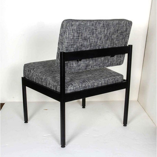 Metal Pair of Mid-Century Modern Tweed Industrial Chairs in the Style of Knoll For Sale - Image 7 of 11