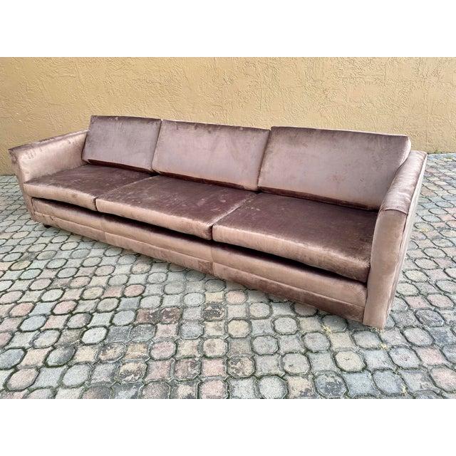 Mid-Century Modern Restored Selig Tuxedo Sofa in a Velvet Brown For Sale - Image 3 of 12