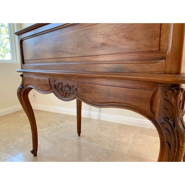 Brown Antique French Walnut Tambour Top Desk For Sale - Image 8 of 13