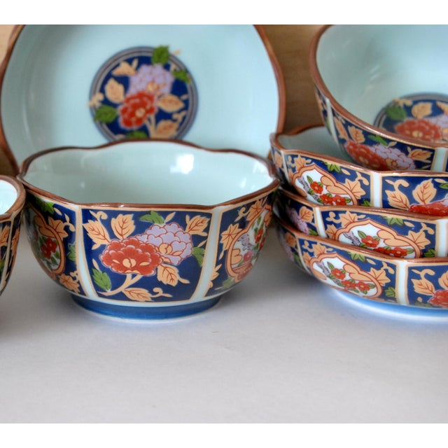 Imari Cherry Blossom Tea Cups and Saucers in Hinoki Wood Box - Set of 10 For Sale In Salt Lake City - Image 6 of 9