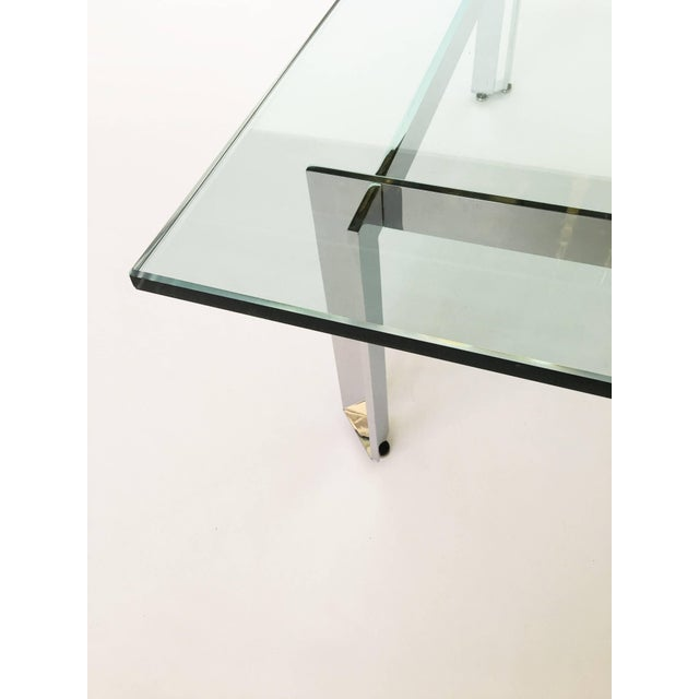 Modern Modernist Square Chrome and Glass Coffee Table For Sale - Image 3 of 9