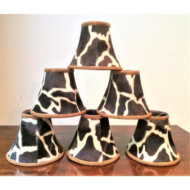 Silk-Lined Velvet Cow Hide Pattern Lamp Shades for Chandelier or Sconces - Set of 6 For Sale - Image 10 of 10