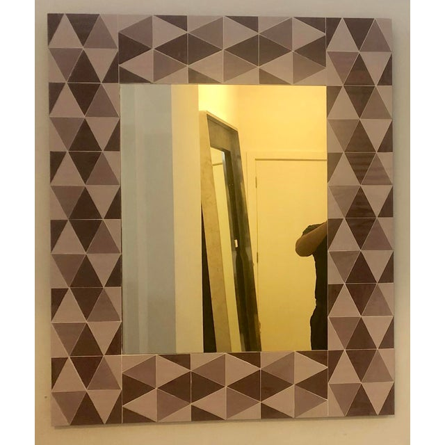 Contemporary Lavender and Mauve Rectangular Geometric Opaline Glass Mirror For Sale - Image 3 of 8