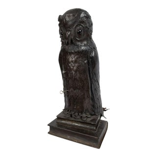 Early 20th Century English Victorian Metal Owl Table Lamp For Sale
