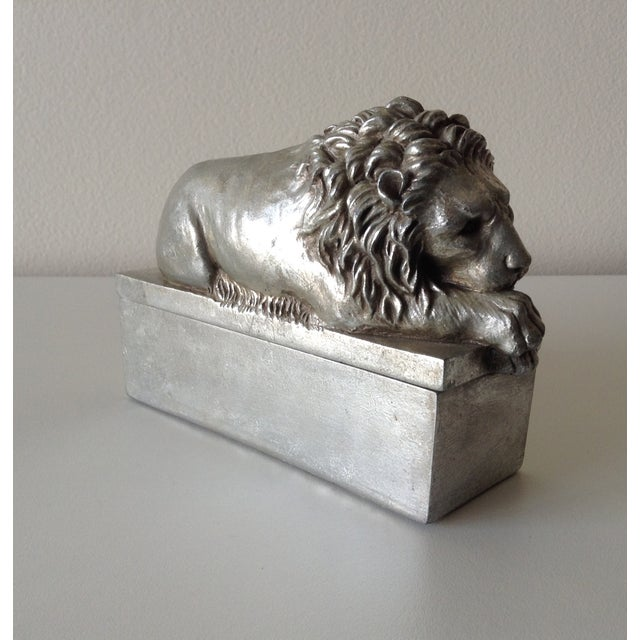 Silver Leaf Lion Lidded Boxes - Pair - Image 6 of 8