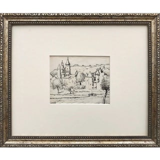 Antique French Pen & Ink Landscape Drawing of a Castle or Chateau For Sale