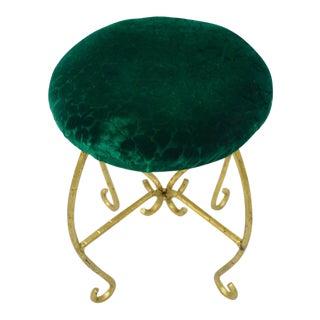 Green & Gold Italian Hollywood Regency Iron Vanity Stool Seat Spain Faux Bamboo