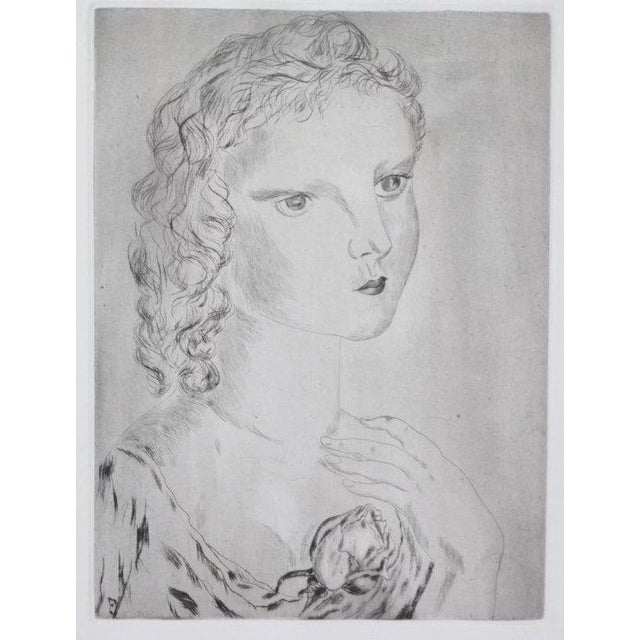 "Leonard Foujita (French/Japanese, 1886-1968), ""Jeune fille avec une rose"", 1925, drypoint etching, unsigned, plate j-..."
