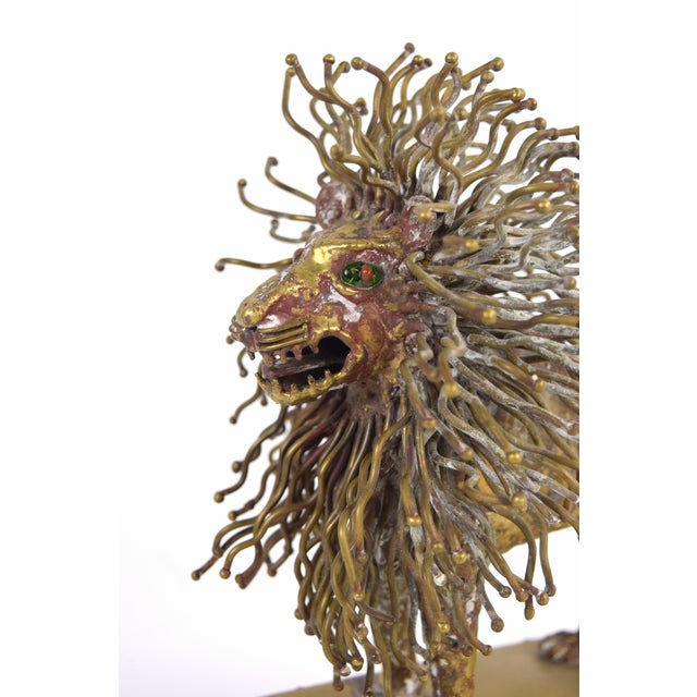 Mexican Pal Kepenyes Modernist Brutalist Brass Lion Sculpture Mexican Hungarian Artist For Sale - Image 3 of 10