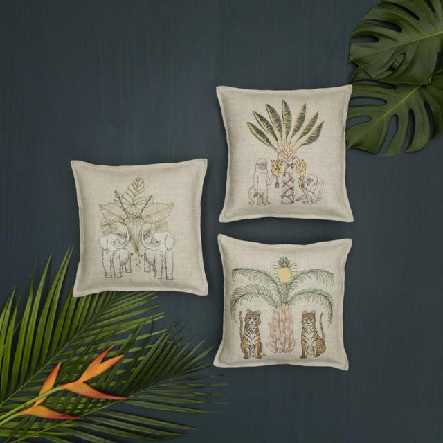 French Tigers With Pineapple Palm Tree Pillow For Sale - Image 3 of 4
