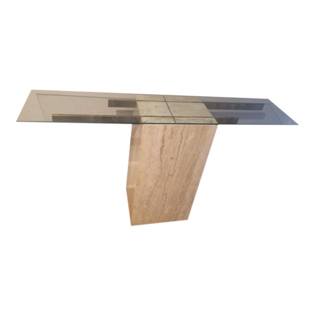 Mid-Century Modern Travertine Console Table & Glass Top - Image 1 of 11