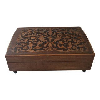 1960s Italian Inlaid Rosewood Box For Sale
