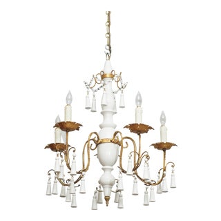 Vintage White Paint Wood and Tole Chandelier For Sale