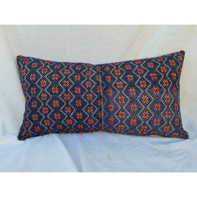 A hand embroidered silk on hemp pillow. Part of a vintage hill tribe wedding quilt fragment. Each wedding quilt takes 1...