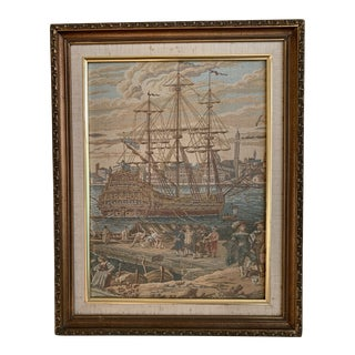 Framed Antique Italian Wall Tapestry For Sale