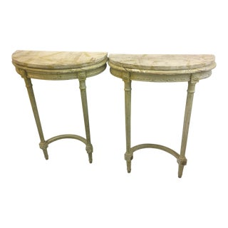 Antique French Painted Demilune Tables - a Pair For Sale