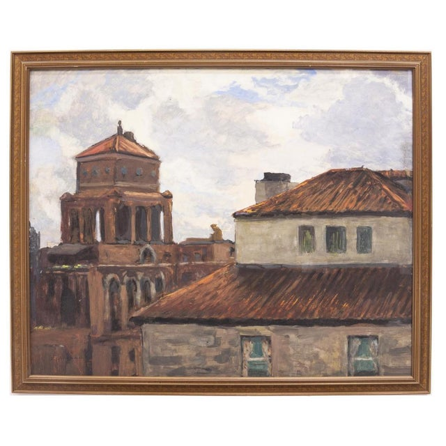 1900 - 1909 Italian Scene Painting of Rooftops of Naples Framed Watercolor by Frank Herrmann For Sale - Image 5 of 5