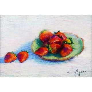 Strawberry Still Life Pastel For Sale