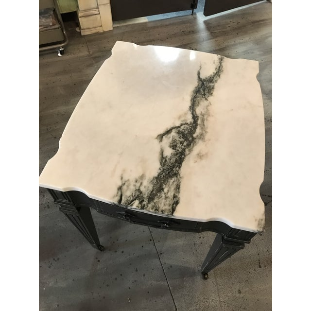 Weiman White & Black Marble Top Vintage Side Tables -- A Pair - Image 4 of 11